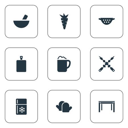 チョッピング木材、水切り、冷蔵庫、他の同義語のパブ、要素熱とエール。 シンプルな料理のアイコンのベクトル イラスト セット。