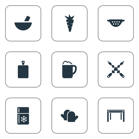 Elements Chopping Wood, Drainer, Fridge And Other Synonyms Pub, Heat And Ale.  Vector Illustration Set Of Simple Cuisine Icons.