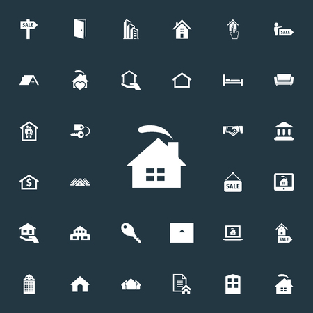 Vector Illustration Set Of Simple Property Icons. Elements Glass Tower, Capital, Contract And Other Synonyms Deal, Laptop And Key.