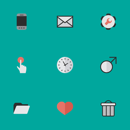 Vector Illustration Set Of Simple UI Icons. Elements Time, Mobile Phone, Envelope And Other Synonyms Heart, Call And Envelope.