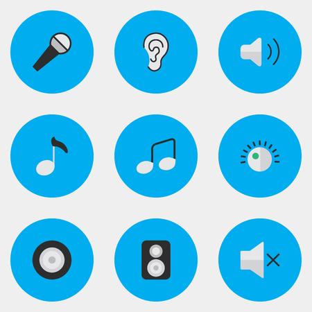 Vektor-Illustrations-Satz einfache solide Ikonen. Elementregulator, Musikzeichen, Lautsprecher und andere Synonyme Hören, Stummschalten und Musik. Standard-Bild - 83063302