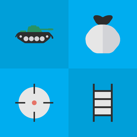Vector Illustration Set Of Simple Offense Icons. Elements Moneybox, Stairs, Target And Other Synonyms Military, Stairs And Shot.