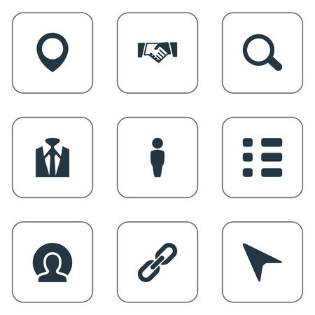 Vector Illustration Set Of Simple Conference Icons. Elements Human, Pinpoint, Agreement And Other Synonyms Location, Contract And Reminder. Stock Vector - 83063384
