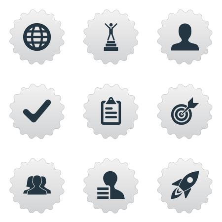 벡터 일러스트 레이 션 간단한 전략 아이콘의 집합입니다. 요소 성공, 글로벌 무역, 체크리스트 및 기타 동의어 모집, 사용자 및 후보. 일러스트