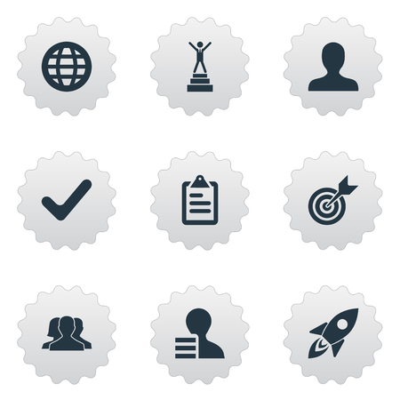 Vector Illustration Set Of Simple Strategy Icons. Elements Success, Global Trade, Checklist And Other Synonyms Recruitment, User And Candidate. Illustration
