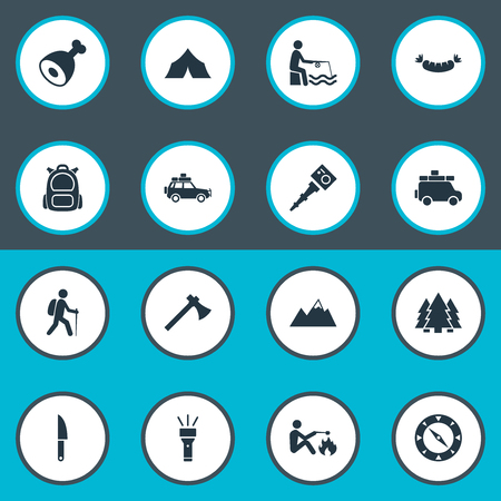 Vector Illustration Set Of Simple Tourism Icons. Elements Canvas, Selfie Stick, Ice Rock And Other Synonyms Rucksack, Meat And Monopod. Illustration