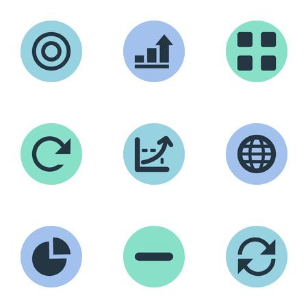 Elementen minus, lijndiagram, cirkeldiagram en andere synoniemen Aarde, wereld en figuur. Vectorillustratiereeks Eenvoudige Analytics-Pictogrammen.