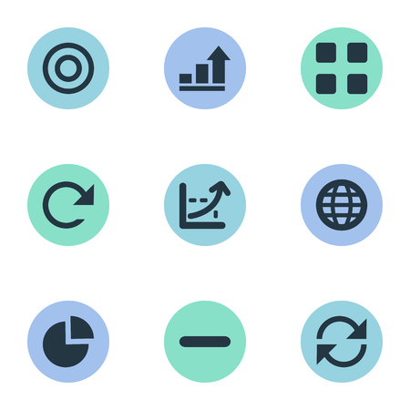 Elements Minus, Line Chart, Pie Bar And Other Synonyms Earth, World And Figure.  Vector Illustration Set Of Simple Analytics Icons.