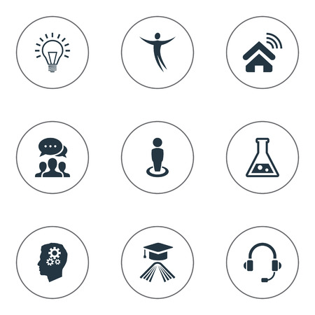 Vector Illustration Set Of Simple Creativity Icons. Elements Mind, Education, Flask And Other Synonyms Invention, Startup And Communicator. Illustration