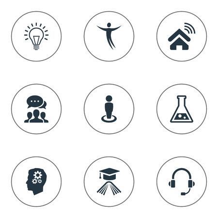 Vectorillustratiereeks Eenvoudige Creativiteitpictogrammen. Elements Mind, Education, Flask And Other Synoniemen Invention, Startup And Communicator.