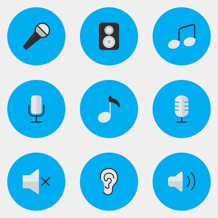 Vector Illustration Set Of Simple  Icons. Elements Volume, Listen, Mike And Other Synonyms Volume, Hear And Loudspeaker.