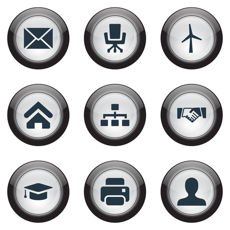 Vector Illustration Set Of Simple Commerce Icons. Elements Relationship, University Hat, Partnership And Other Synonyms Printing, Chair And Letter. Illustration