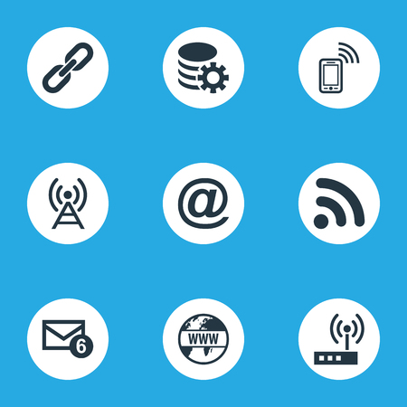 Vector Illustration Set Of Simple Web Icons. Elements Inbox, Antenna, Router And Other Synonyms Router, Web And Wifi.
