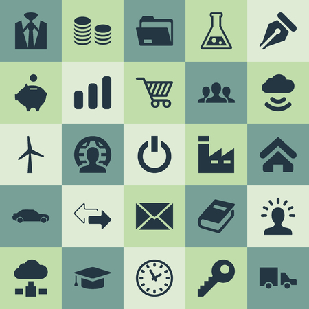 Vector Illustration Set Of Simple Trade Icons. Elements Cloud Storage, Direction, Piggy And Other Synonyms Mill, Education And Folder. Çizim