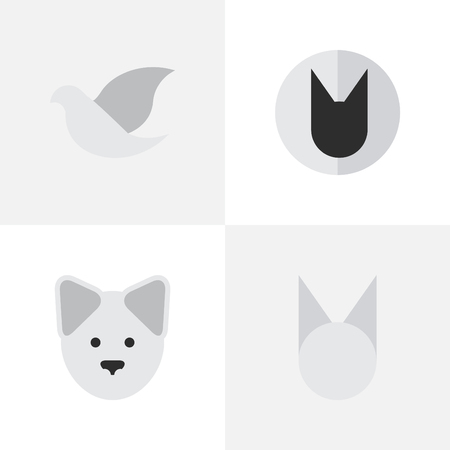 Vector Illustration Set Of Simple Wild Icons. Elements Tomcat, Pigeon, Cat And Other Synonyms Cute, Dove And Bird. Illustration