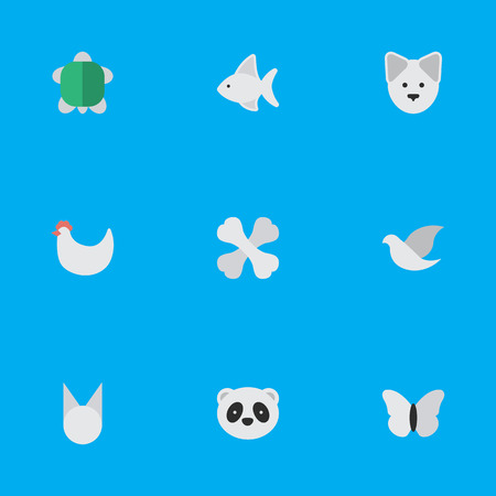 Vector Illustration Set Of Simple Wild Icons. Elements Tortoise, Fish, Pigeon And Other Synonyms Panda, Cock And Tomcat. Illustration