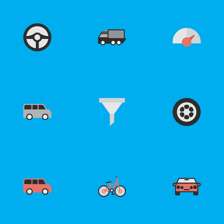 Vector Illustration Set Of Simple Traffic Icons. Elements Auto, Minibus, Speed And Other Synonyms Family, Car And Strainer. Illusztráció