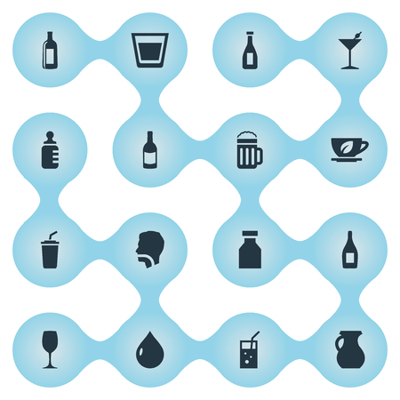 Vector Illustration Set Of Simple Drinks Icons. Elements Martini, Beer, Cognac And Other Synonyms Water, Drop And Club. Illustration