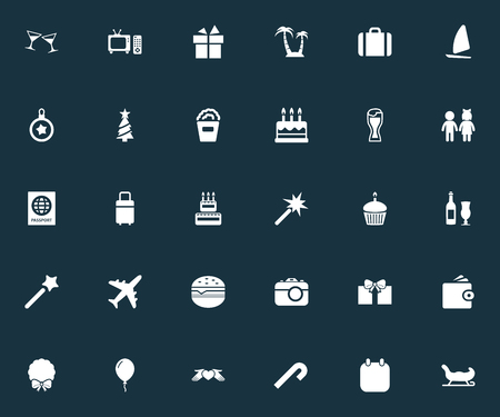 Vector Illustration Set Of Simple  Icons. Elements Children, Christmas Ball, Cinema And Other Synonyms Sky, Luggage And Passport.
