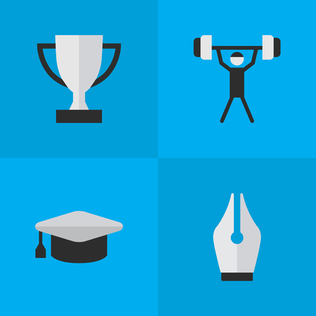 Vector Illustration Set Of Simple Knowledge Icons. Elements Goblet, Academic Hat, Bodybuilding And Other Synonyms Hat, Lifter And Weight.