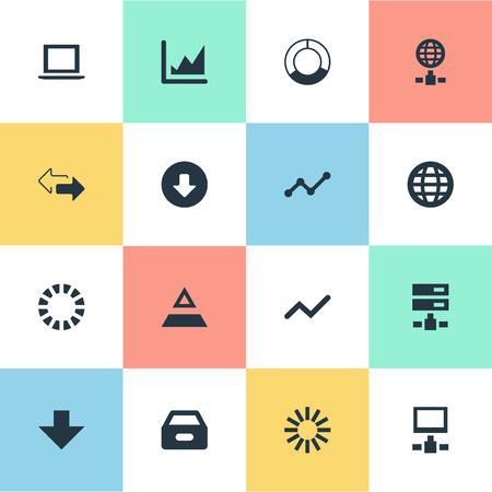 単純なビジネス アイコンのベクター イラスト セット。要素サイクル グラフ、プリローダー、成長および他の類義語サーバー 2 とダウン。