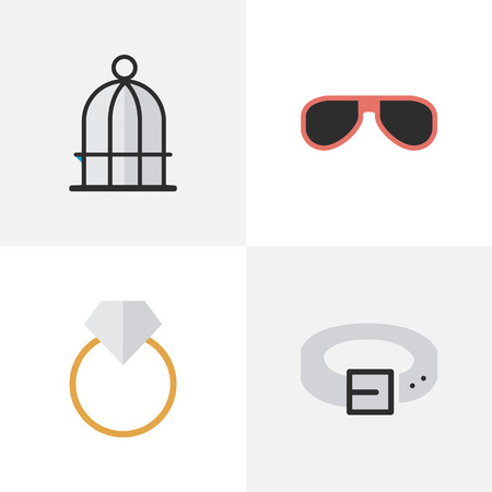 Vector Illustration Set Of Simple Equipment Icons. Elements Strap, Engagement, Birdcage And Other Synonyms Ring, Cage And Engagement. Illustration