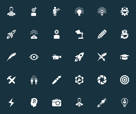 Vector Illustration Set Of Simple Visual Art Icons. Elements Pen, Academic Cap, Detail And Other Synonyms Hat, Target And Invention. Иллюстрация