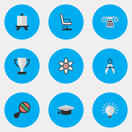 Vector Illustration Set Of Simple Knowledge Icons. Elements Measurement Dividers, Racket, Goblet And Other Synonyms Pong, Measurement And Ping.