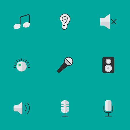 벡터 일러스트 레이 션 간단한 사운드 아이콘의 집합입니다. 요소 레코드, 스피커, 듣기 및 기타 동의어 확성기, 만들기 및 참고.