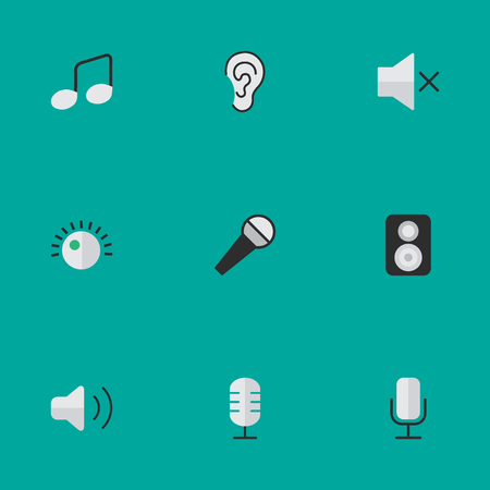 Vector Illustration Set Of Simple Sound Icons. Elements Record, Speaker, Listen And Other Synonyms Loudspeaker, Make And Note. Illustration