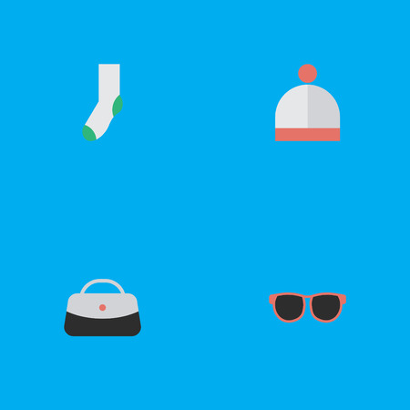 Vector Illustration Set Of Simple Equipment Icons. Elements Sock, Wool Wear, Glasses And Other Synonyms Foot, Winter And Handbag. Illustration