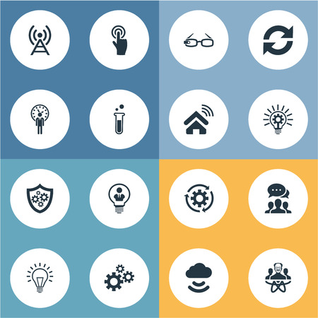 Vector Illustration Set Of Simple Creative Icons. Elements Deadline, Machinery, Connection And Other Synonyms Engineering, Mind And Invention.