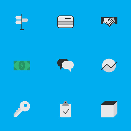 Vector Illustration Set Of Simple Business Icons. Elements Greenback, Square, Done And Other Synonyms Greenback, Open And Growing. Illustration