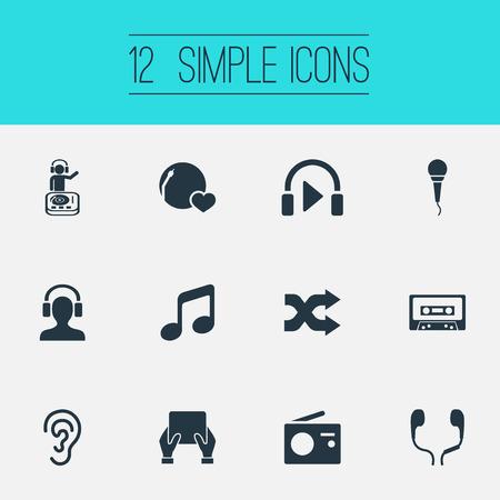 Vector Illustration Set Of Simple Sound Icons. Elements Hear, Amusement, Random Synonyms Headset, Entertainment And Radio. Illustration