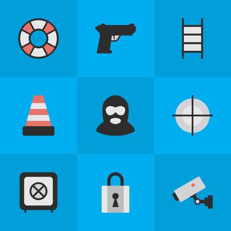 単純な攻撃アイコンのベクター イラスト セット。要素の階段、ボールト、閉鎖と他の類義語セキュリティ、ヴォールトとカメラ。