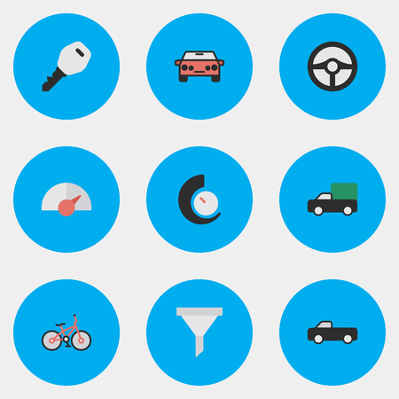 Vector Illustration Set Of Simple Transportation Icons. Elements Speed, Strainer, Recycle And Other Synonyms Pickup, Bicycle And Sedan.