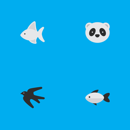 Vector Illustration Set Of Simple Fauna Icons. Elements Bear, Fish, Sparrow And Other Synonyms Swallow, Panda And Fish.