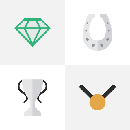 Vector Illustration Set Of Simple Reward Icons. Elements Medal, Gemstone, Champion And Other Synonyms Medal, Trophy And Goblet.