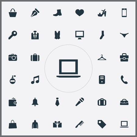 Vector Illustration Set Of Simple Accessories Icons. Elements Briefcase, Billfold, Password And Other Synonyms Wallet, Ring And Comb.