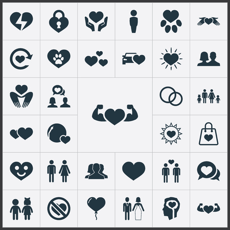 Vector Illustration Set Of Simple Wedding Icons. Elements Communication, Homosexual, Lovers And Other Synonyms Power, Bag And Careful.