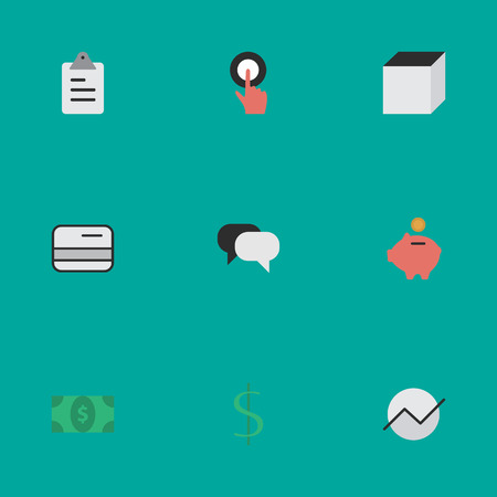 Vector Illustration Set Of Simple Trade Icons. Elements Talking, Greenback, Dollar And Other Synonyms Touching, Growing And Cube.