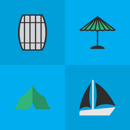 Vector Illustration Set Of Simple Relax Icons. Elements Cask, Camping, Schooner And Other Synonyms Sailboat, Cask And Container. Illustration