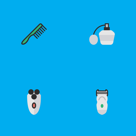 Vector Illustration Set Of Simple Hairdresser Icons. Elements Hairbrush, Perfume, Electronic And Other Synonyms Slavering, Bottle And Fragrance.