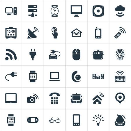 単純なデバイスのアイコンのベクトル イラスト セット。要素時計、オーブン、データ センターおよび他の類義語タブレット料理とオーブン。