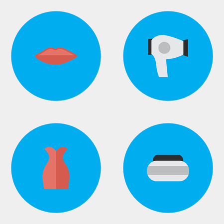 Vector Illustration Set Of Simple Glamour Icons. Elements Dress, Drying Machine, Lips And Other Synonyms Lips, Box And Garment.