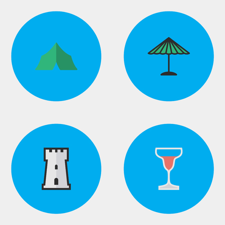 Vector Illustration Set Of Simple Travel Icons. Elements Wine, Parasol, Camping And Other Synonyms Journey, Castle And Tent. Illustration