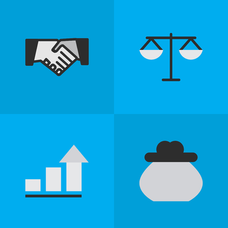 Vector Illustration Set Of Simple Trade Icons. Elements Growing, Justice, Wallet And Other Synonyms Handshake, Increase And Agreement.