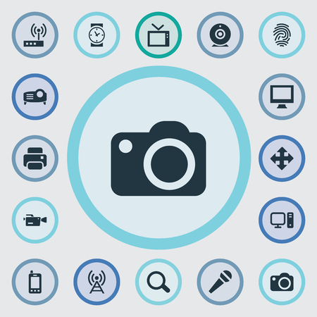 Vector Illustration Set Of Simple Hardware Icons. Elements Move, Search, Show And Other Synonyms Monitor, Show And Thumbprint.