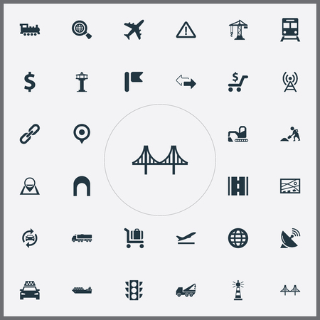 Vector Illustration Set Of Simple City Icons. Elements Stoplight, Shopping, Construction Crane And Other Synonyms Works, Truss And Warning. Illusztráció