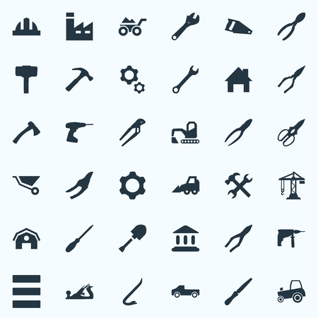 Vector Illustration Set Of Simple Work Icons. Elements Loaded Trolley, Helmet, Chisel And Other Synonyms Gears, Workshop And Hacksaw. Illustration